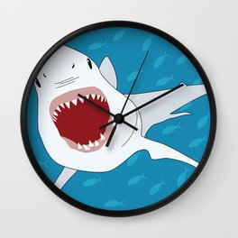 Shark Attack Underwater With Fish Swimming In The Background Wall Clock