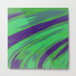 Green Blue Swish Abstract  Metal Print