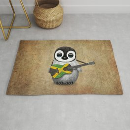 Baby Penguin Playing Jamaican Flag Guitar Rug