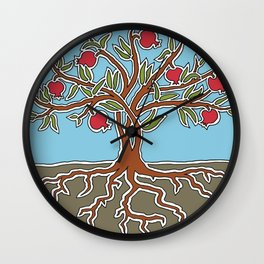 Pomegranate Tree of Life Wall Clock