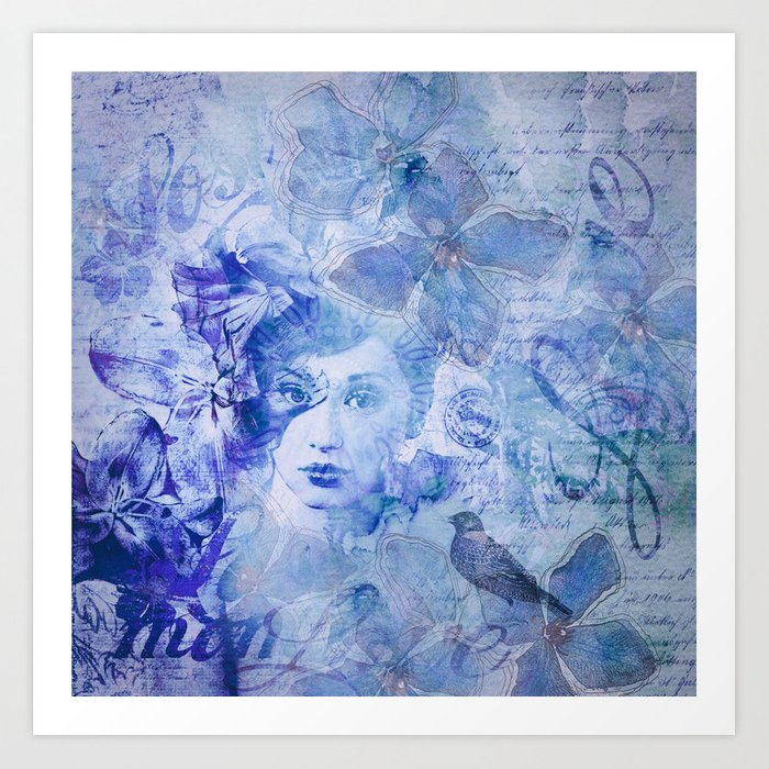 Lost Moments Woman Nostalgic Portrait In Shades Of Blue Art Print