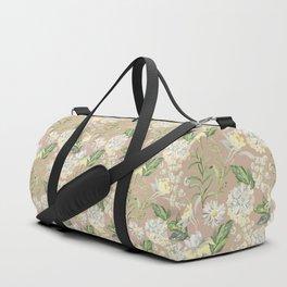 White flowers on the kraft Duffle Bag