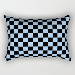 Black and Baby Blue Checkerboard Rectangular Pillow