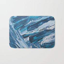 BLUE WAVES | Textured acrylic abstract art by Natalie Burnett Art Bath Mat