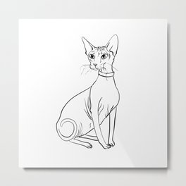 Elegant Sphynx Kitty - Line Art - Minimal Black and White Metal Print