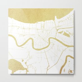 New Orleans White and Gold Map Metal Print