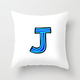 Uppercase Letter J Doodle Throw Pillow