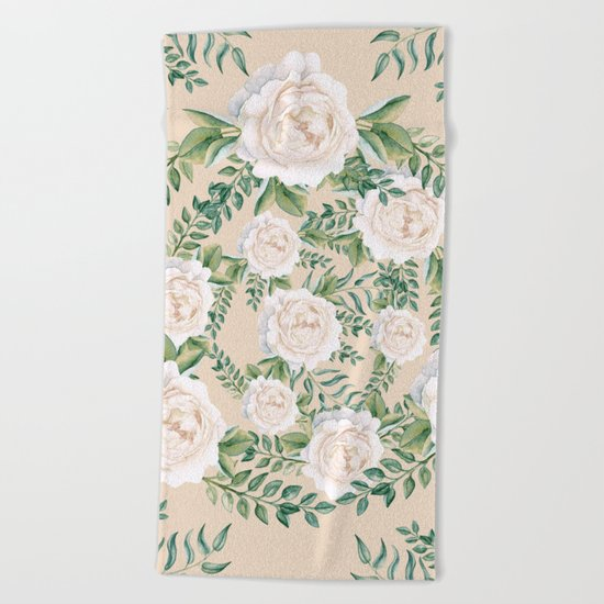 Garden Roses Mandala Pink Green Cream Beach Towel
