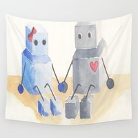 robots Wall Tapestries featuring little robots by Suzu Lim