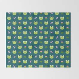 Frogs, Dragonflies and Lilypads on Teal Throw Blanket