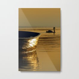 Rowing boat and swan sunset reflections Metal Print