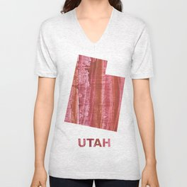 Utah map outline Indian red stained wash drawing Unisex V-Neck