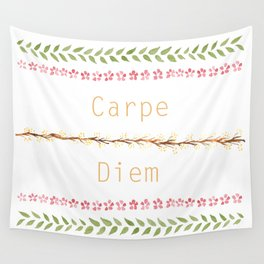 Carpe Diem! - watercolour pattern typography Wall Tapestry