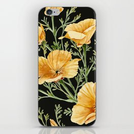 California Poppies on Charcoal Black iPhone Skin