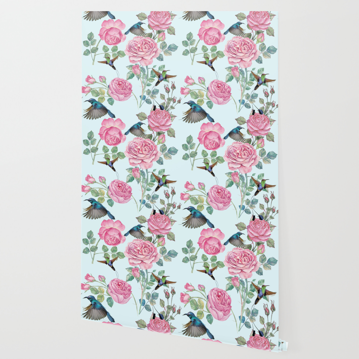 Vintage Watercolor Hummingbird And English Roses Wallpaper By