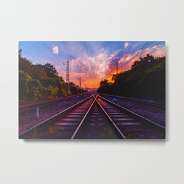 Antiquity railway at the sky of dawn Metal Print