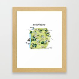 Pacific Northwest Illustrated Map Framed Art Print