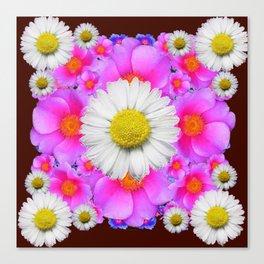 Colorful Fuchsia Rose Bouquet Garden Shasta Daisies Canvas Print