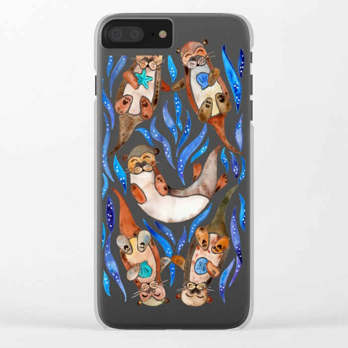Five Otters – Blue Palette Clear iPhone Case