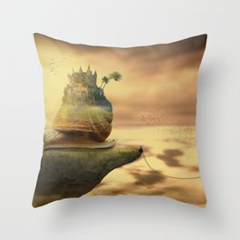 The Snail With The Castle Back Pulls The World Throw Pillow
