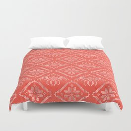 Hand Drawn Embroidery Star Stitches Seamless Vector Pattern. Cross Stitch Duvet Cover