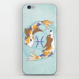 Pisces Zodiac Basset Hound iPhone Skin