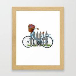 Vintage bicycle with basket full of violets flowers Framed Art Print