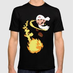 Mario - Fire Flower Mario Mens Fitted Tee SMALL Black