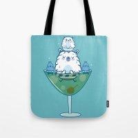 martini Tote Bags featuring Martini PBear by OLLA BOKU