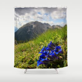 Clusius' gentian flowers and mountains Shower Curtain