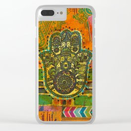 Boho & Batik Hamsa Clear iPhone Case