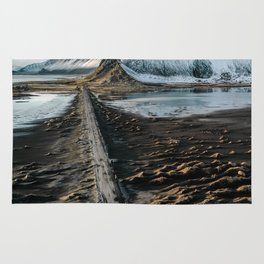 Icelandic black sand beach and mountain road - landscape photography Rug