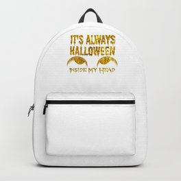 (tshirt) It's Aways Halloween Inside My Head (gold foil) Backpack