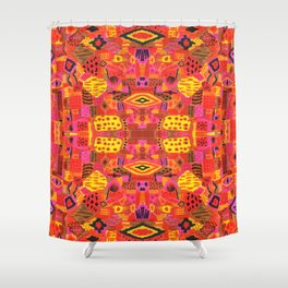 Boho Patchwork in Warm Tones Shower Curtain
