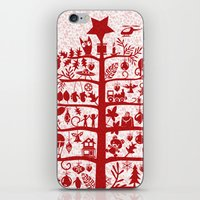 blankets iPhone & iPod Skins featuring CHRISTMAS TREE red ITINERANT by Chicca Besso
