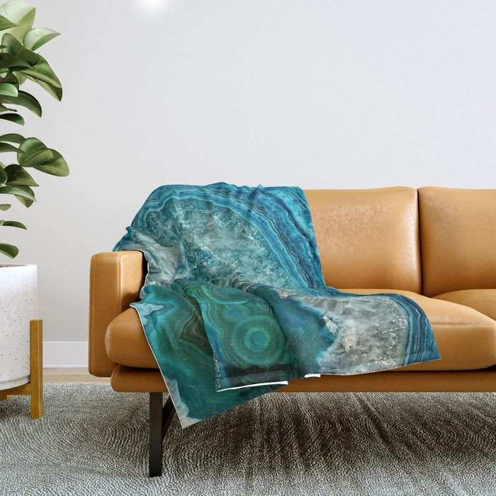 Aqua turquoise agate mineral gem stone - Beautiful Backdrop Throw Blanket