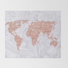 Rose Gold Glitter World Map on White Marble Throw Blanket