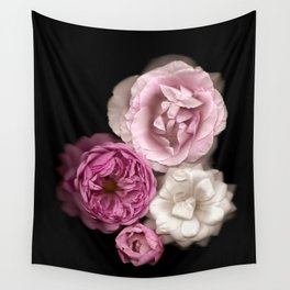 Purple, Pink, and White Roses Wall Tapestry
