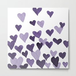 Valentine's Day Watercolor Hearts - ultraviolet Metal Print
