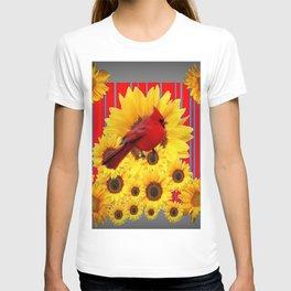 YELLOW SUNFLOWERS RED CARDINAL GREY  ART T-shirt