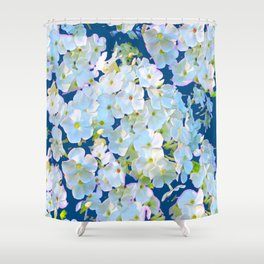 DELICATE TEAL & WHITE LACE FLORAL GARDEN Shower Curtain