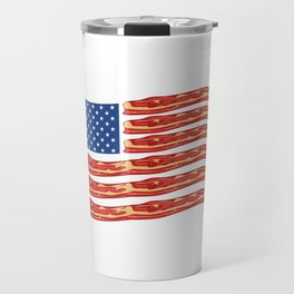 """When Bacon Is Love, Bacon Is Life """"American Flag Bacon"""" T-shirt Design Food Breakfast Lunch Snack Travel Mug"""