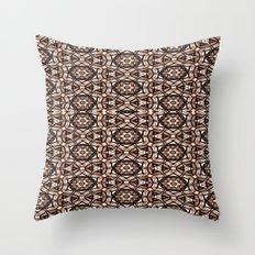 Brown, white and black spiral Mandala  #2778 Throw Pillow