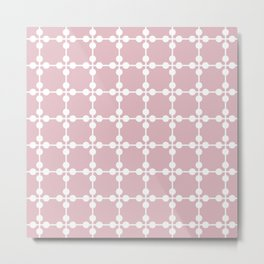 Droplets Pattern - Dusky Pink & White Metal Print