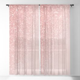 She Sparkles Deep Rose Gold Pastel Pink Luxe Geometric Sheer Curtain