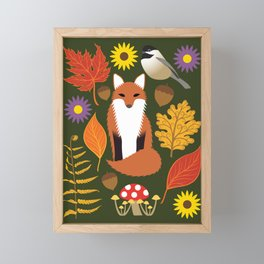 Fox, Autumn Woodland Leaf Print Framed Mini Art Print