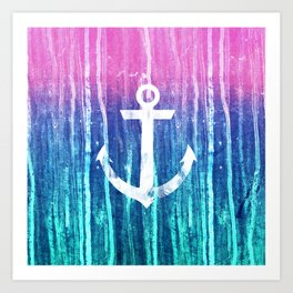 Nautical Anchor Pink Teal Watercolor Stripes Drips Art Print