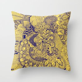 Tangled Mellow Yellow Throw Pillow