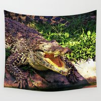 crocodile Wall Tapestries featuring Awesome Crocodile by MehrFarbeimLeben