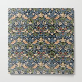 William Morris Vintage Strawberry Thief Tudor Blue Metal Print